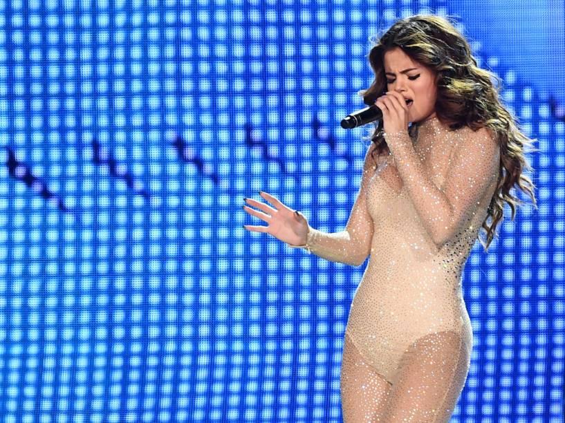 Selena Gomez durante a abertura de sua turnê Revival World Tour, em Las Vegas<br><br>