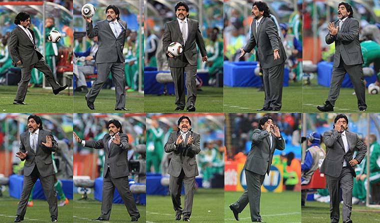 Na partida entre Argentina e Nigéria, o técnico e ex-jogador Diego Maradona foi um show à parte: brincou com a bola e fez embaixadas.