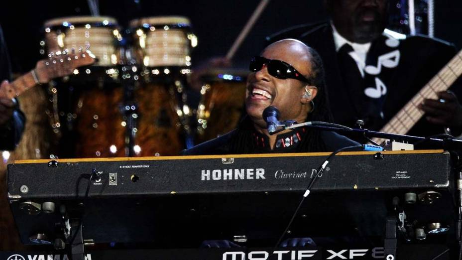 Stevie Wonder durante show no Palácio de Buckingham