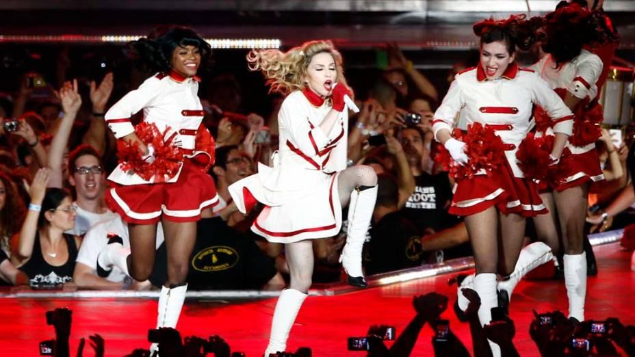 Apresentação da cantora Madonna durante a MDNA world tour, em Tel Aviv, em Israel