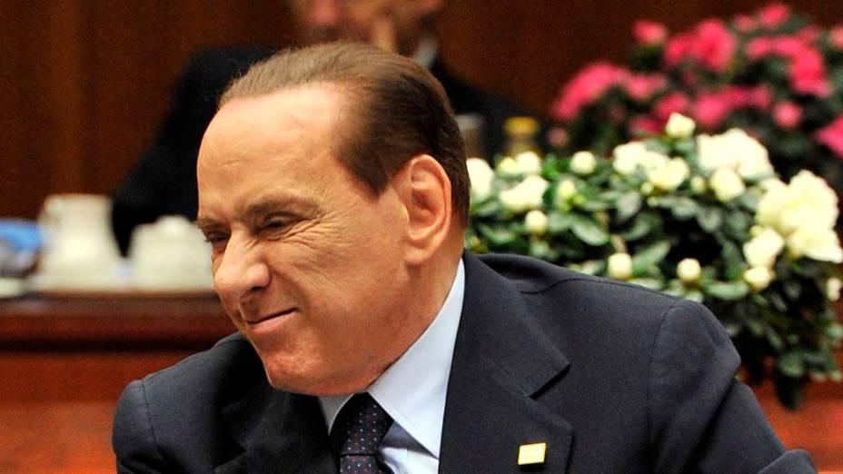 O primeiro-ministro italiano Silvio Berlusconi durante reunião do conselho Europeu em Bruxelas, na Bélgica