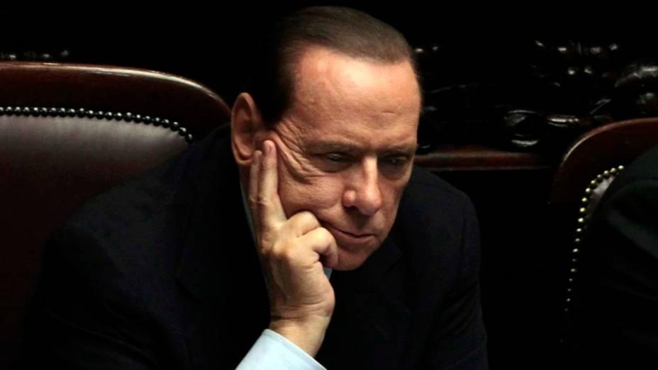Silvio Berlusconi no parlamento italiano em Roma