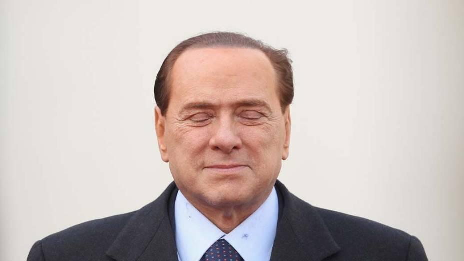 O primeiro-ministro italiano Silvio Berlusconi durante visita à Alemanha