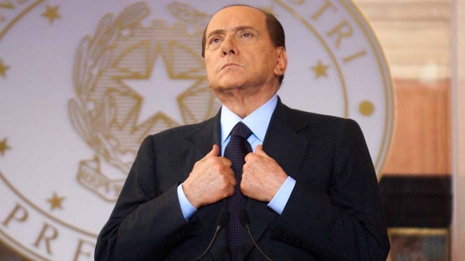 O primeiro-ministro italiano Silvio Berlusconi durante evento em Roma, Itália