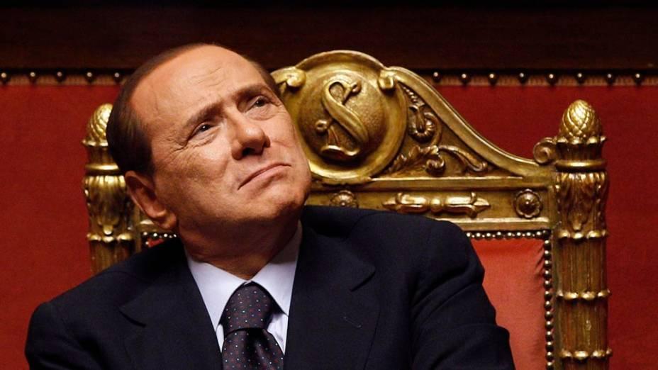 Silvio Berlusconi durante um debate no Senado em Roma, Itália