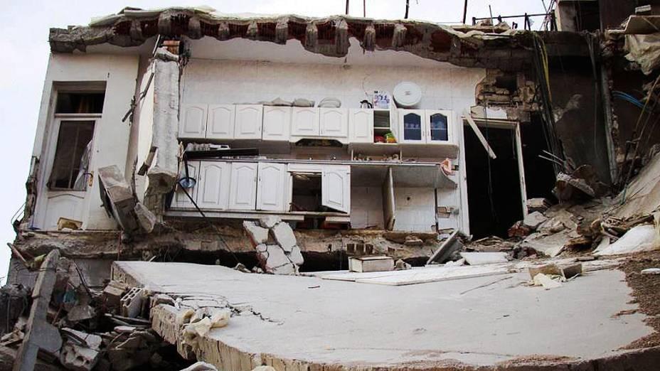 Bairro de Homs de Jourat Al Shayah, casas destruídas
