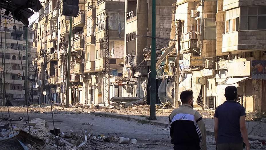Bairro de Al Khaledyia em Homs, destruição de áreas da cidade é atribuída a bombardeios das tropas do governo de Bashar al-Assad