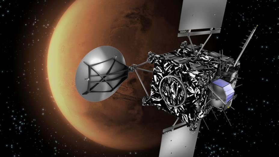 Perspectiva artística com Marte ao fundo