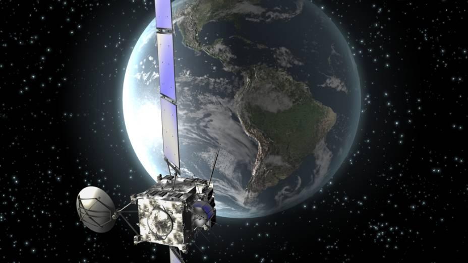 Sonda Rosetta com o planeta Terra ao fundo