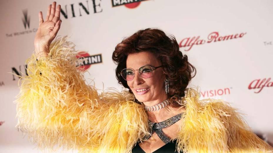 Sophia Loren durante o lançamento do filme Nine, de 2010