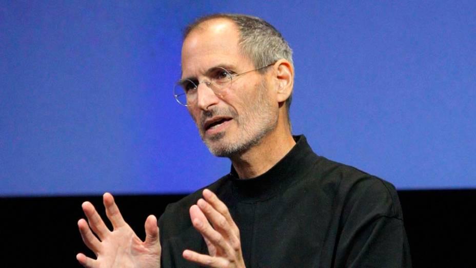 Steve Jobs durante um evento especial de divulgação do iPhone 4 na Califórnia, 2010