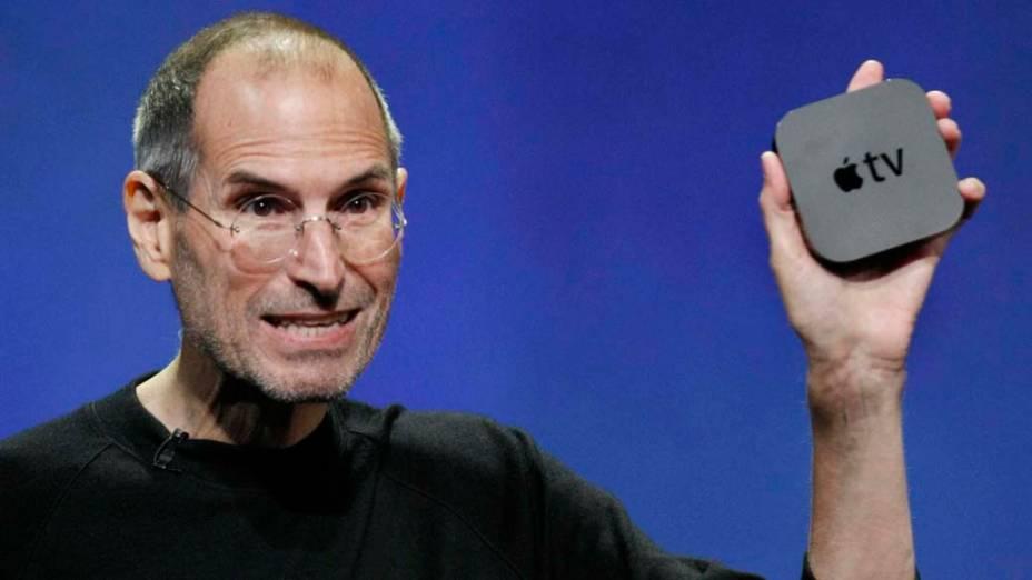 Steve Jobs lança a nova Apple TV durante conferência em São Francisco, 2010