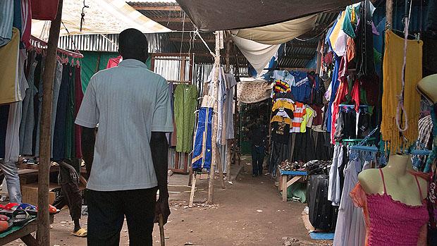 Comércio na capital Juba, no Sudão do Sul