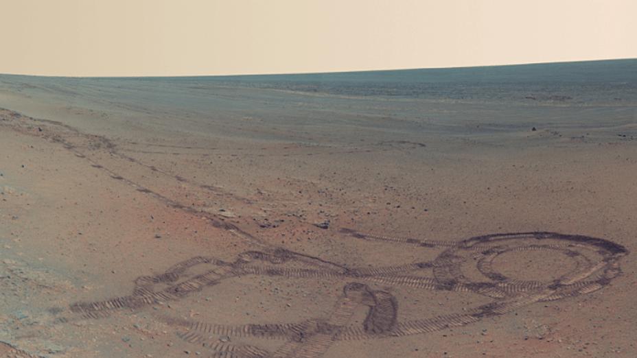 <p>Rastros do Opoortunity deixaram marcas no solo de Marte</p>