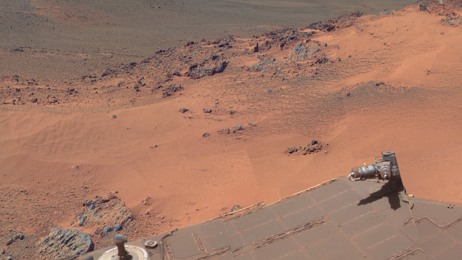 <p>Nesta imagem é possível ver as marcas de poeira sobre as placas solares do Opportunity</p>