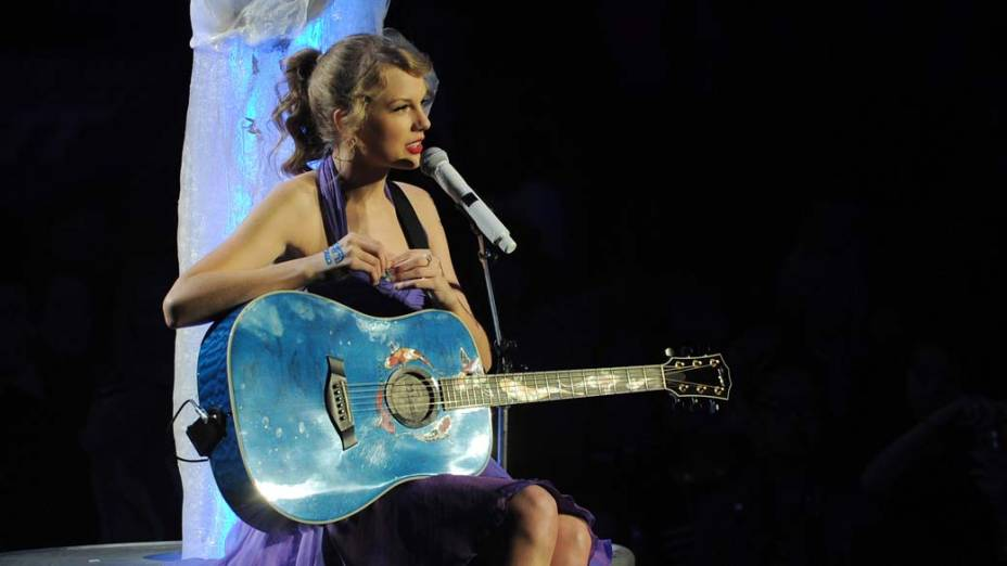 Taylor Swift durante performance, em Nova York
