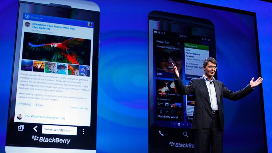 Presidente Thorsten Heins apresenta novo Blackberry RIM 10, em Nova York