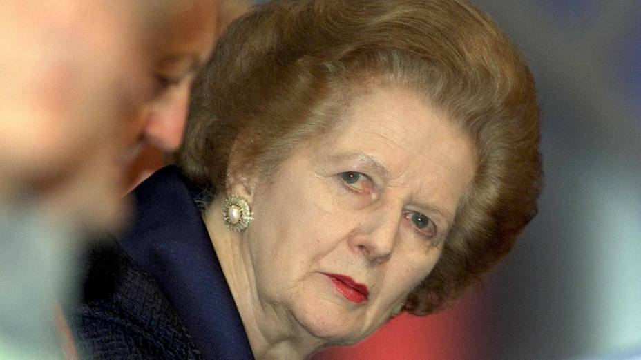 Margaret Thatcher durante um evento do Partido Conservador, em 2000