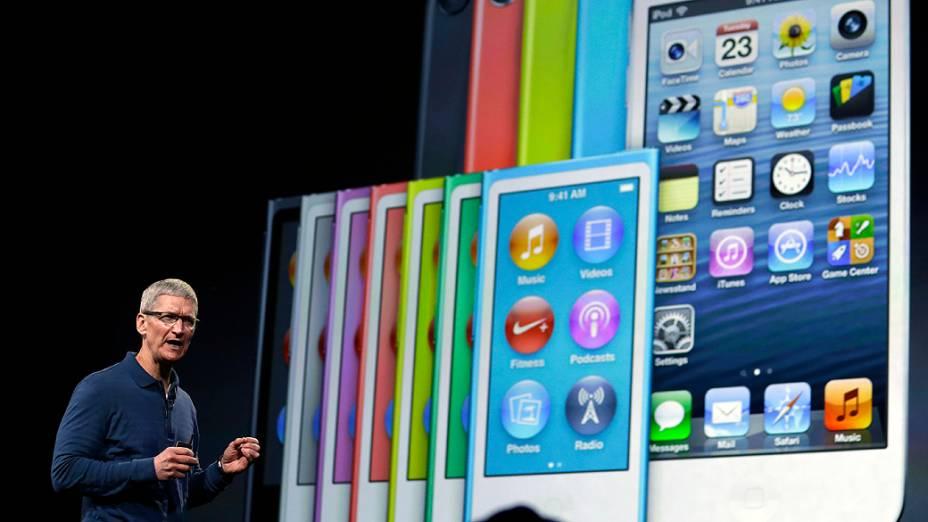Tim Cook, CEO da Apple durante evento de lançamento de novos produtos