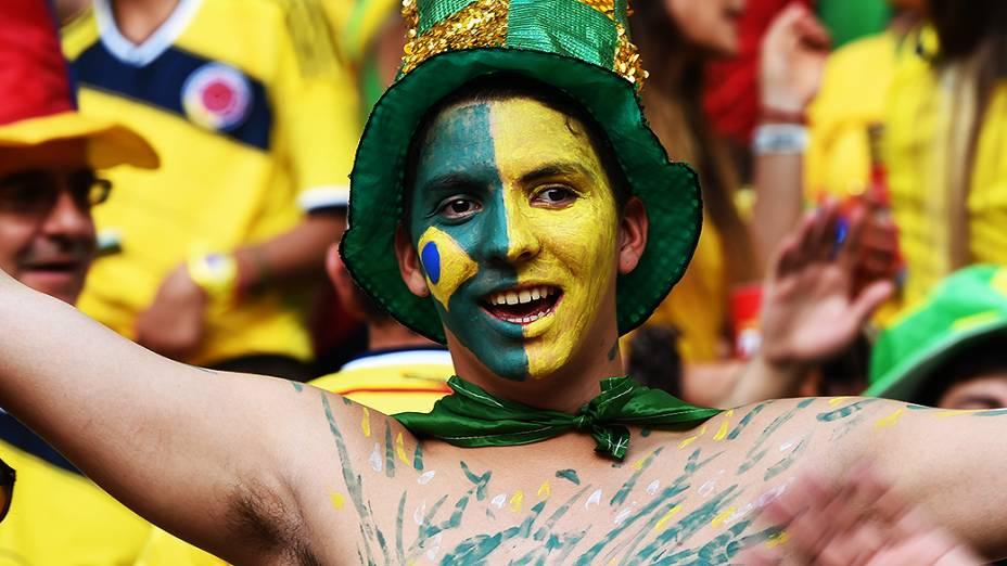Torcedor do Brasil durante o jogo contra a Colômbia no Castelão, em Fortaleza