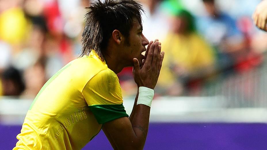 Neymar durante a final Olímpica de futebol, entre Brasil e México em Wembley