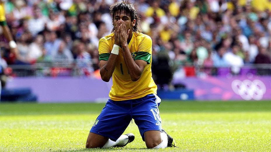 Neymar depois da final Olímpica de futebol, entre Brasil e México em Wembley