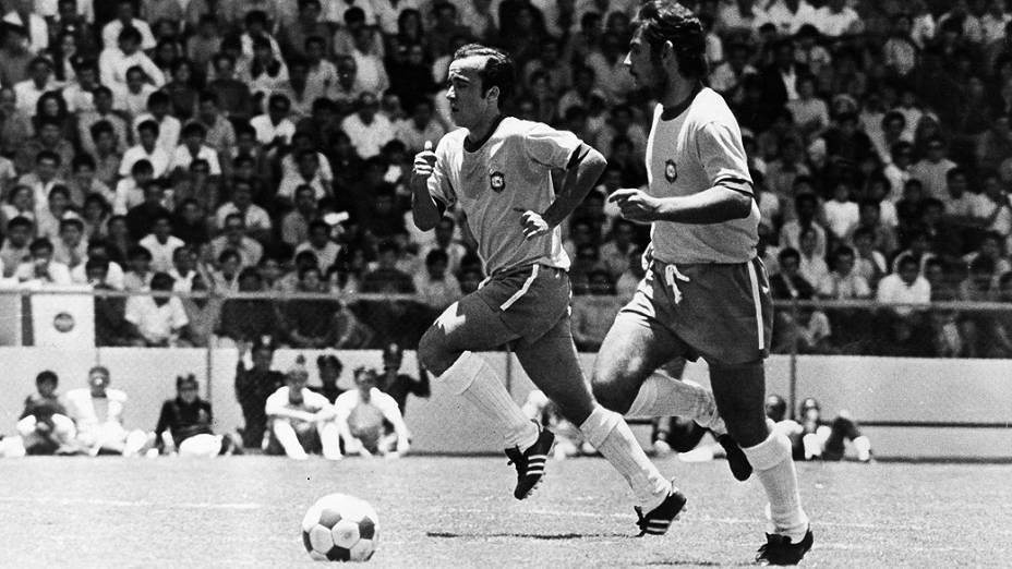 Tostão e Rivellino em Brasil 4 x 1 Itália, a finalda Copa do Mundo de 1970, no Estádio Azteca