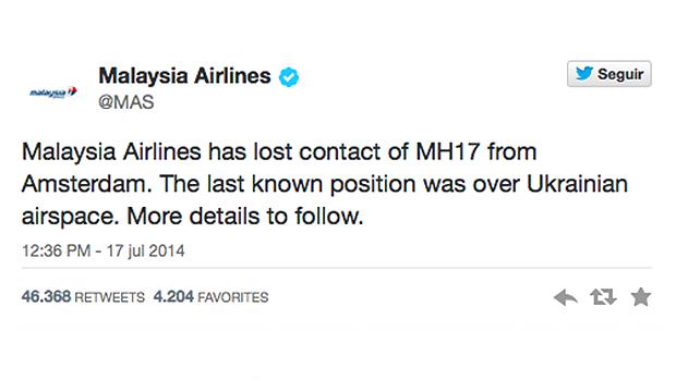 Malaysia Airlines em sua conta no Twitter afirmou que perdeu contato com o MH17, e que sua última posição foi registrada no espaço aéreo ucraniano