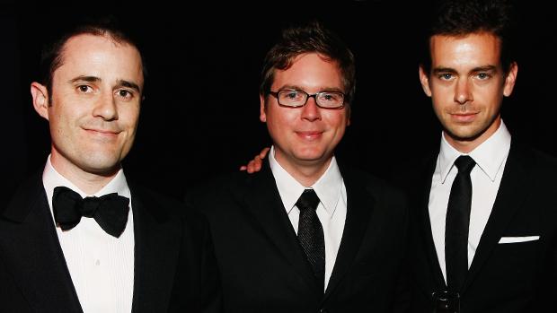 Os fundadores do Twitter: Evan Williams, Biz Stone e Jack Dorsey