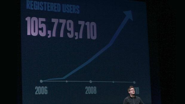 Biz Stone durante conferência do Twitter, em São Francisco, em abril de 2010