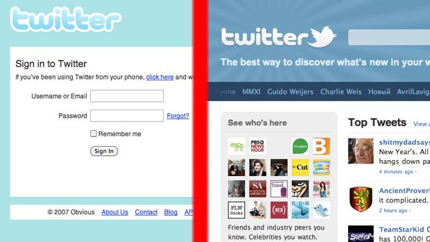 Duas das versões da página web do Twitter