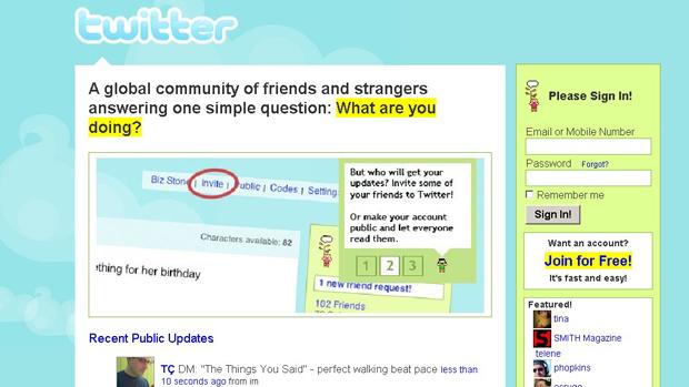 Uma das versões da página do Twitter na web