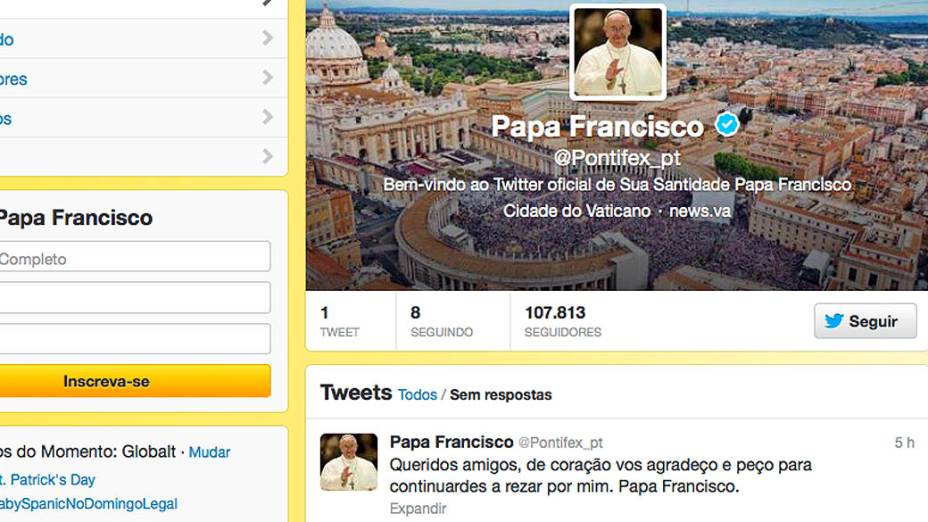 Primeiro post do papa Francisco no Twitter