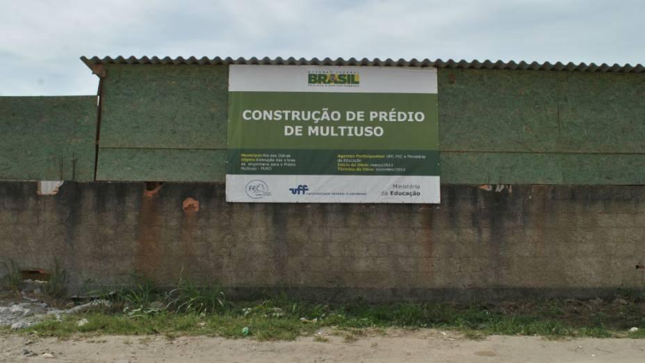 O campus da UFF em Rio das Ostras: obras atrasadas e contêineres para substituir as instalações