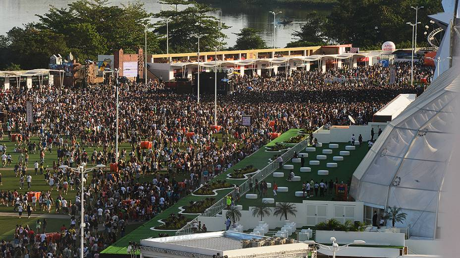 Vista aérea do Palco Mundo no terceiro dia do Rock in Rio 2013