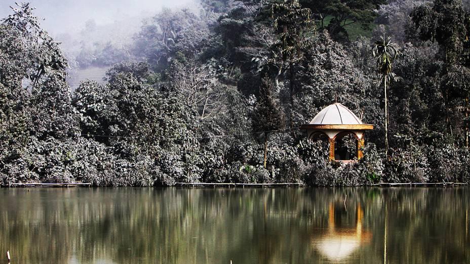 <p>Cinzas do vulcão Monte Sinabung cobrem árvores e casas na vila de Mardingding, na ilha de Sumatra, na Indonésia, nesta terça-feira (5). Mais de mil pessoas foram evacuadas na ilha após o vulcão entrar em erupção pela terceira vez nos últimos meses</p>