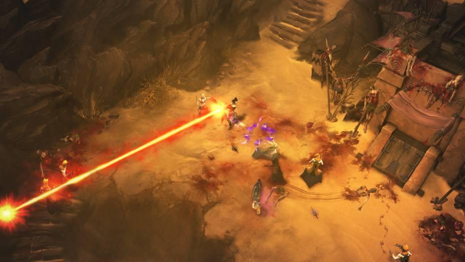 O mago enfrenta seus oponentes em uma cidade arrasada pelas forças de Diablo