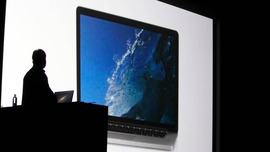 Apresentação do novo MacBook Pro durante a WWDC, em São Francisco