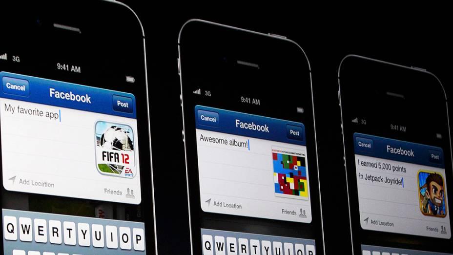 Integração do Facebook com o sistema iOS6, apresentado no iPhone