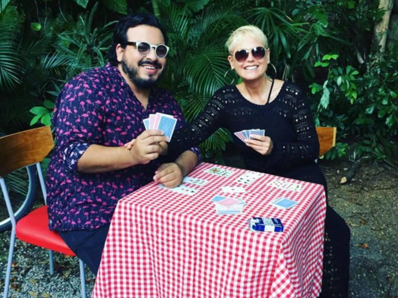 Xuxa e Luis Lobianco na gravação de Contrato Vitalício, o primeiro filme do Porta dos Fundos