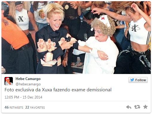 Xuxa faz exame demissional