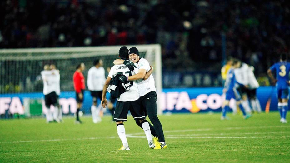 Jorge Henrique do Corinthians comemorando a vitória do jogo contra o Chelsea, partida válida pela final do Campeonato Mundial de Clubes da Fifa, em Yokohama