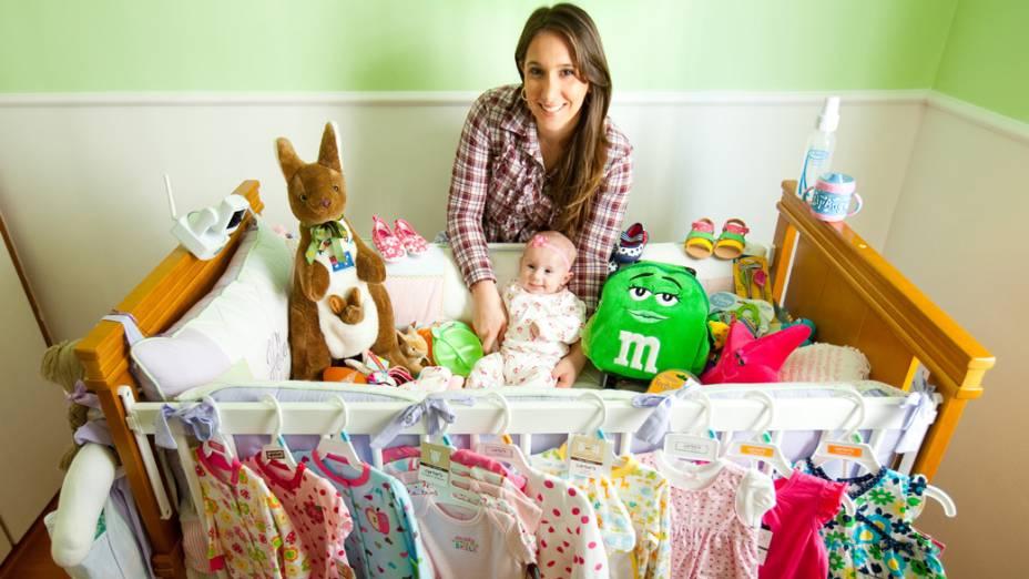 Com as compras feitas em Miami, Melina Gouvêa abasteceu o guarda-roupa de Helena, de 4 meses, com roupinhas de grifes como Carter´s, Gap e Ralph Lauren Baby