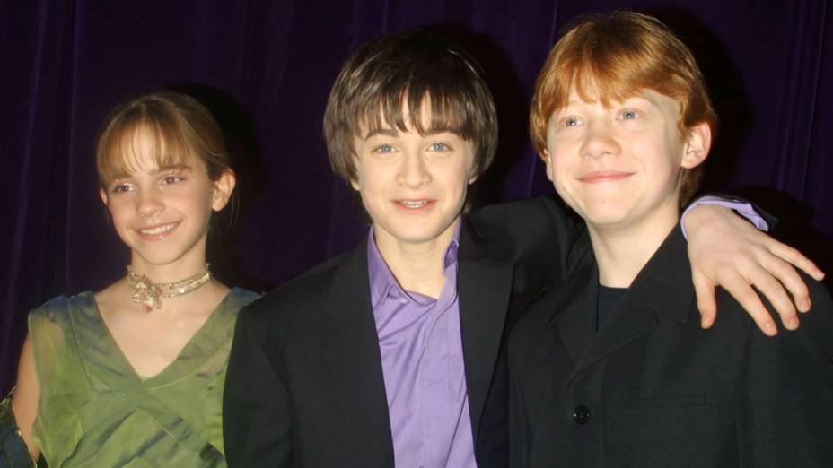 O trio de protagonistas, Emma Watson, Daniel Radcliffe e Rupert Grint, na premiere de <em>Harry Potter e a Câmara Secreta</em>, em Nova York, 2002
