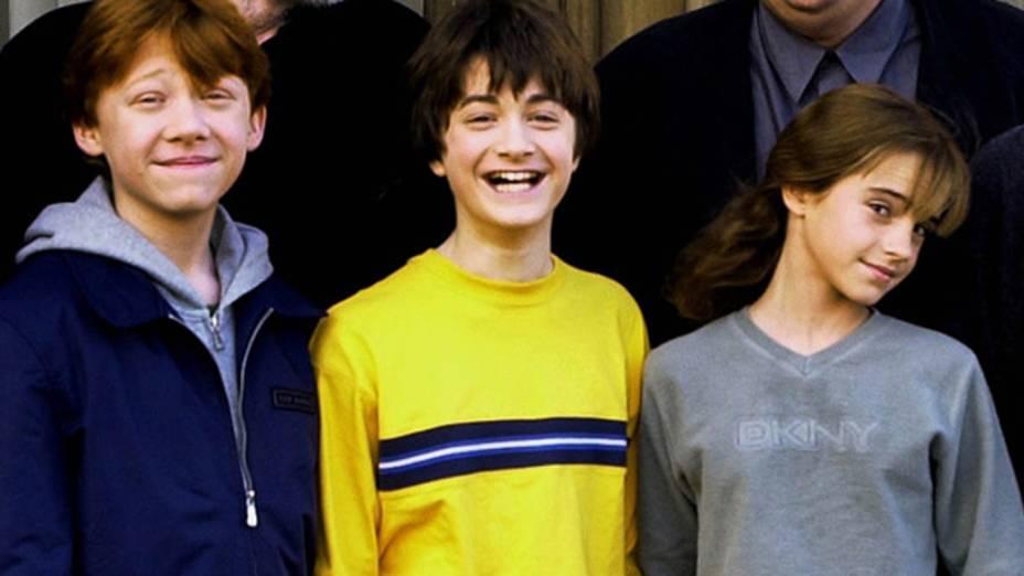 Rupert Grint, Daniel Radcliffe e Emma Watson e sessão de fotos, em 2001