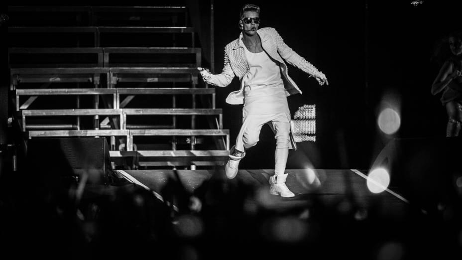 Justin Bieber se apresenta na Arena Anhembi, em São Paulo
