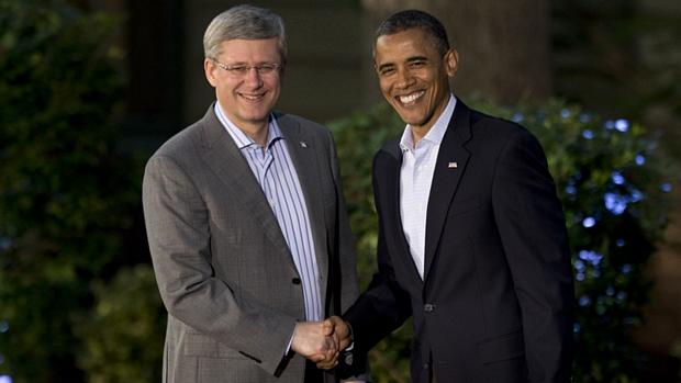 Barack Obama recebe o premiê canadense, Stephen Harper, em Camp David