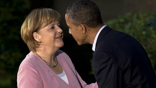 Angela Merkel e Barack Obama em Camp David