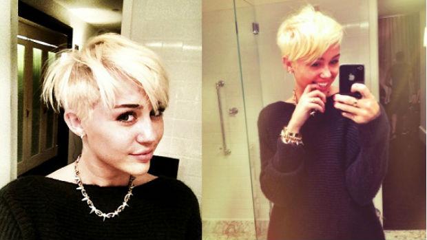 Em agosto de 2012, Miley Cyrus adota visual com cabelos loiros platinados e bem curtos
