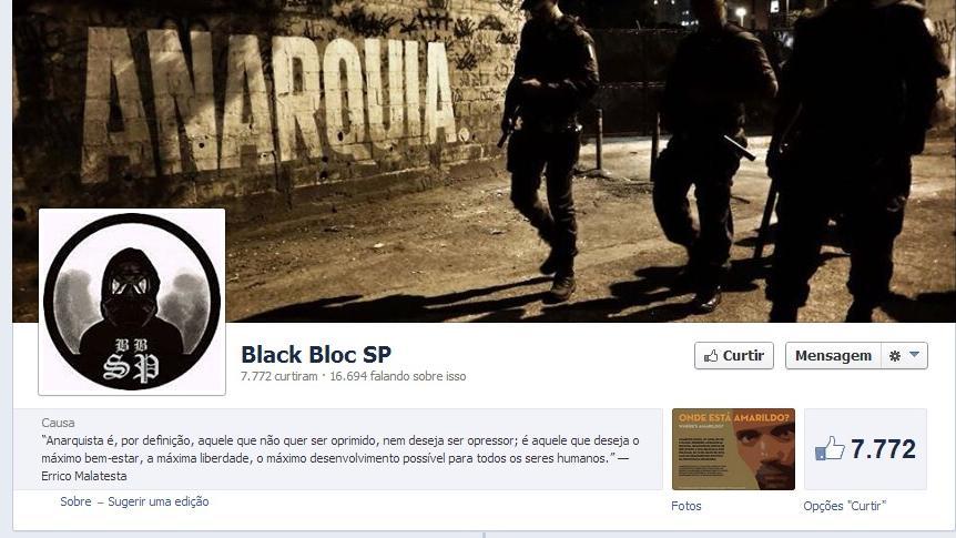 Página no Facebook do grupo anarquista Black Bloc SP